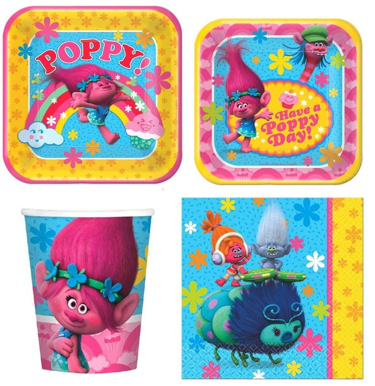 Dreamworks Trolls Birthday Party Express Pack For 8 Guest (Cup Napkin & Plates)