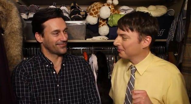 Watch Jon Hamm lock lips with Mike O'Brien on 'Seven Minutes In Heaven'!