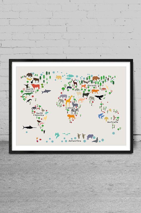 Kids Room World Map Nursery Wall Decor Baby Room by MyVisualArt
