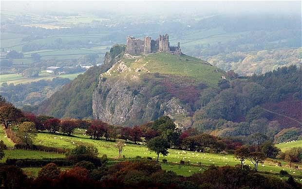 Carreg Cennen Castle, in the rugged uplands in the west of the Brecon Beacons National Park