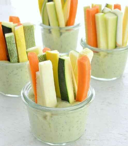 Vegetable Sticks With Avocado Dill Dip
