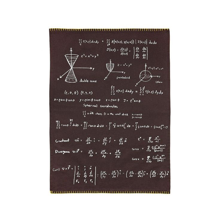 Give your kitchen clean up an exponential boost with a mathematical towel that features equations and formulas.: