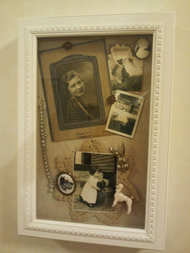 This is the another shadow box I bought at TJ Maxx to put in my grandma's photos and jewerlies.