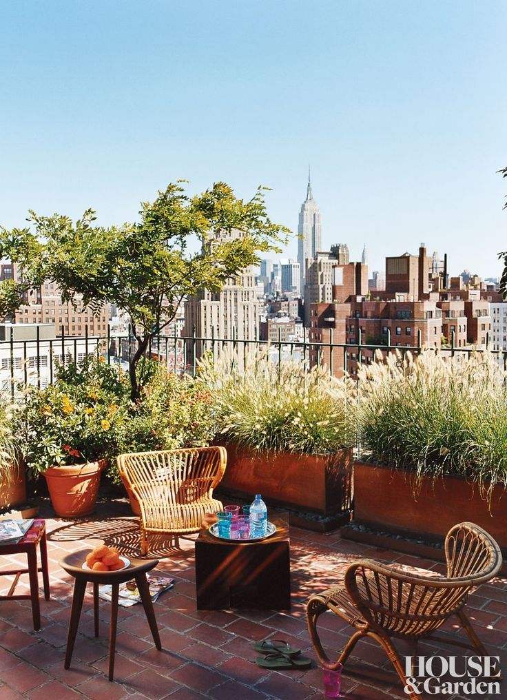Sally Hershberger's apartment in downtown Manhattan has spectacular views and a terrace garden she likes to keep looking a little wild. #HouseandGarden