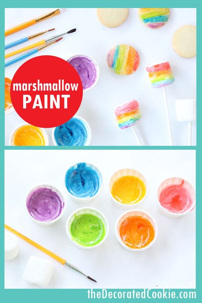 Edible Marshmallow Paint In A Rainbow Of Colors Is An Easy Medium To Decorate Cookies Marshmallows Kid Friendly Cookies Cookie Decorating Kids Cooking Party