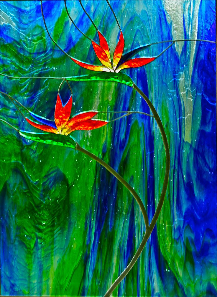 Stained Glass Pictures of Birds | BIRD OF PARADISE #2