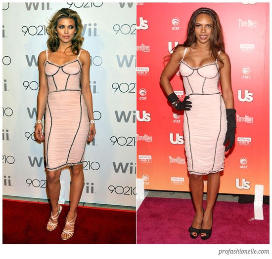 AnnaLynne McCord and Kiely Williams wearing the same pink D Dolce & Gabbana dress