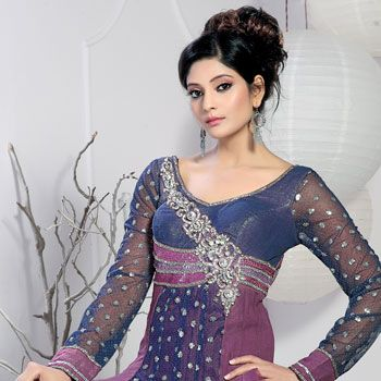 Onion Pink and Blue Net and Faux Georgette Anarkali Churidar Kameez