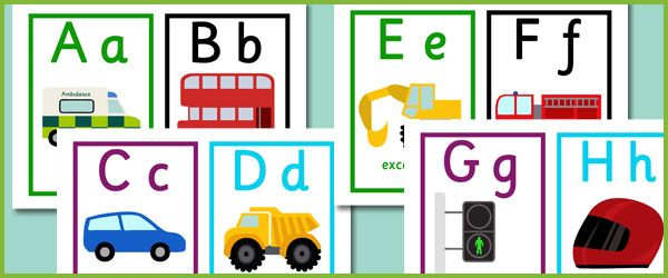 Road transport alphabet cards. Free learning printable resources.