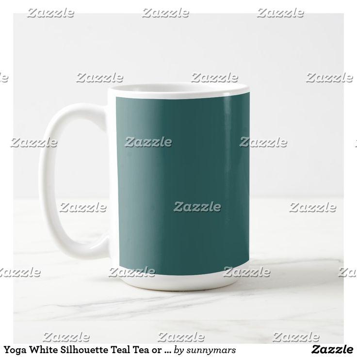 Yoga White Silhouette Teal Tea or Coffee Mug
