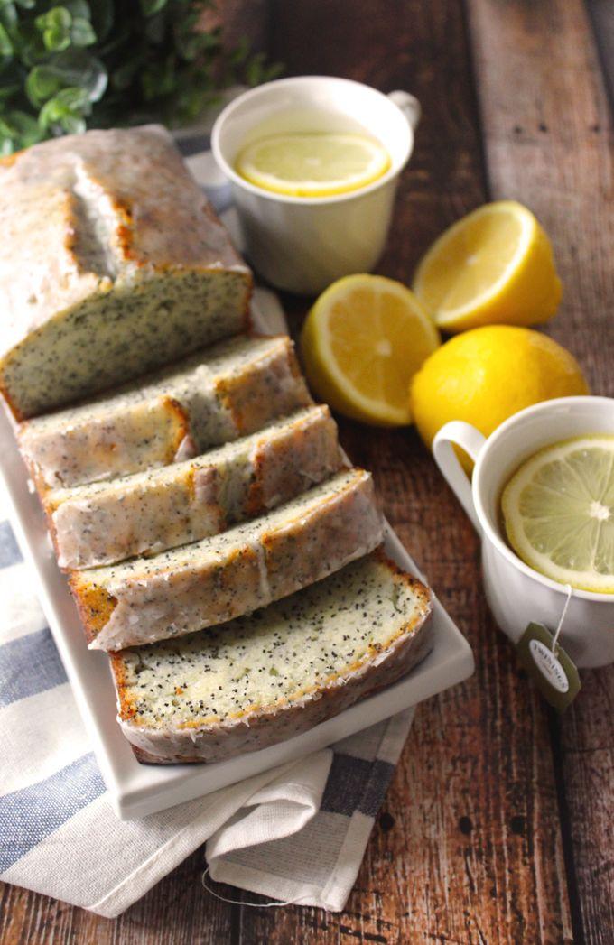 Lemon Poppyseed Yogurt Loaf with Earl Grey Glaze