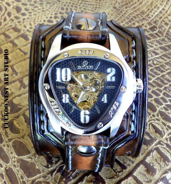 Skelett Leather Watch alt braun Uhr von CuckooNestArtStudio auf Etsy