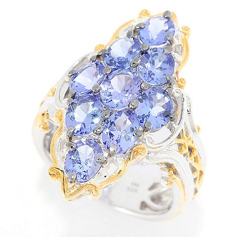 147-726 - Gems en Vogue 3.24ctw Tanzanite Marquise Shaped Nine-Stone Elongated Ring