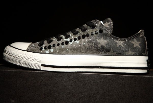 converse Graffiti USA Flag Converse CT AS Studded Chuck Taylor All Star  Low Tops Grey Canvas Sneakers 67628ccdced2