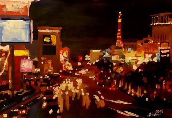 Las Vegas Strip At Night With Neon Advertising
