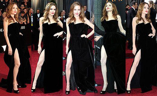 Angelina Jolie toda trabalhada no trauma fashion depois do Oscar