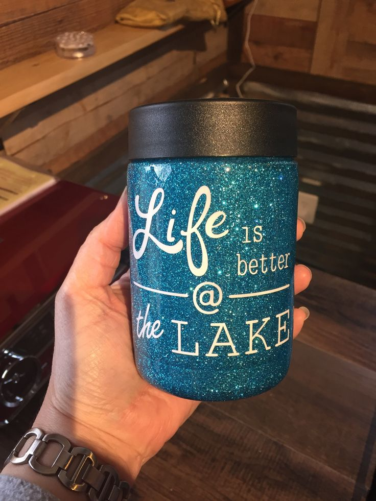 Blue glitter RTIC can cooler