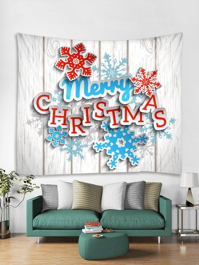 8f1bec7d77a   24% OFF   2018 3d Merry Christmas Snowflake Print Tapestry Art Decoration  In White W91 X L71 Inch