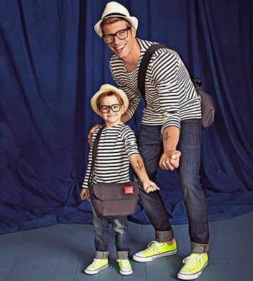 Dress Dad and junior in matching outfits and a few identical accessories for a like father, like son look.