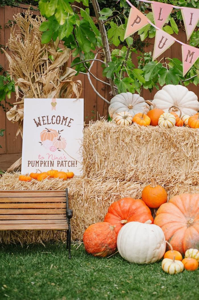 "Hay, corn stalks, and pumpkins adorn this welcome sign from ""Little Pumpkin"" Fall Picnic Birthday Party at Kara's Party Ideas."