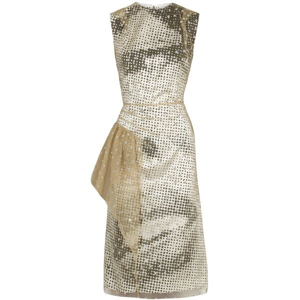 Maison Margiela Polka-dot Satin And Glittered Tulle Dress - Size 8 ($2,125) ❤ liked on Polyvore featuring dresses, glitter dress, white dresses, pleated dress, white frilly dress and tulle cocktail dresses
