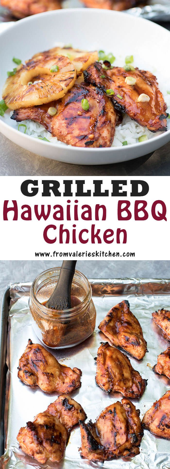 A tropical sesame-soy BBQ marinade sweetened with pineapple juice creates this tender Grilled Hawaiian BBQ Chicken served with grilled pineapple and rice.