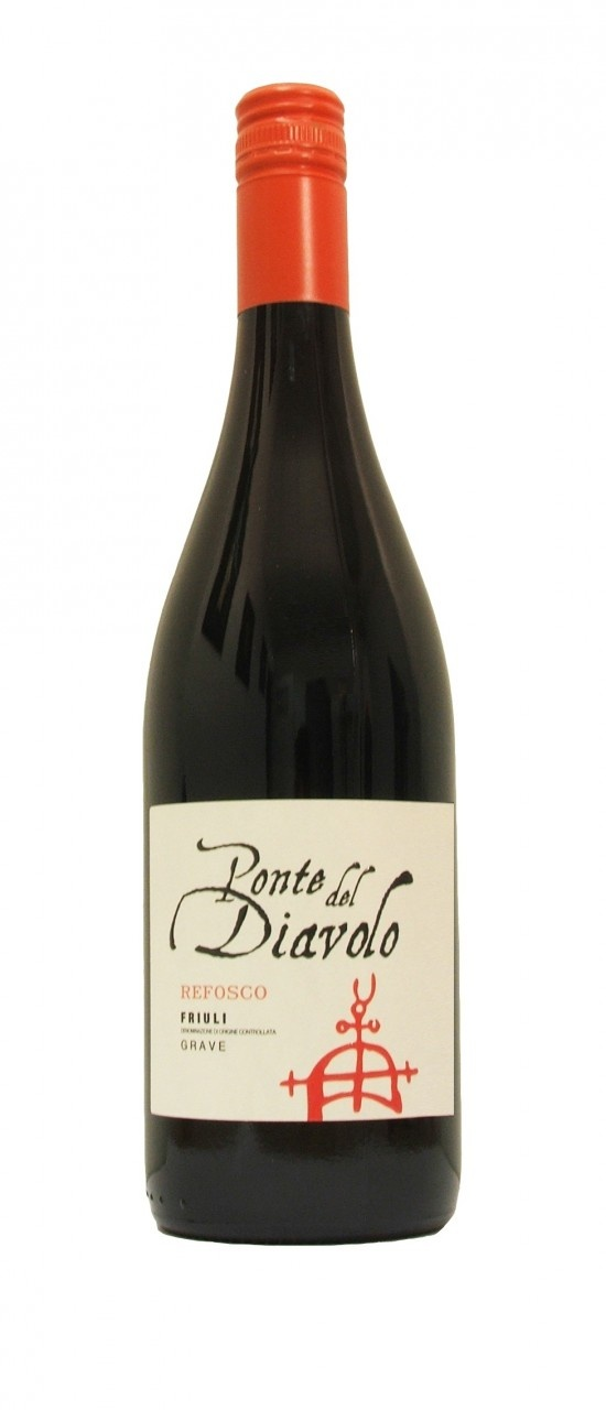Ponte del Diavolo, Refosco from the Friuli region of Italy.    Grape Variety: 100% Refosco    Good depth of ruby red with youthful violet lights, the Refosco has a spicy, brambly perfume on the nose giving way to rounded ripe fruit on the palate. Refosco produces rich, rounded wines, with enough structure to support the juicy, blackberry fruit character.