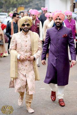 Real Indian Weddings - Sakshi and Manan   Pastel Pink Sherwani with Zardosi Work and Contrasting Dull Gold Pag   Purple Sherwani and Pink Pag for the Groom's Men   WedMeGood #wedmegood #sherwani #groom