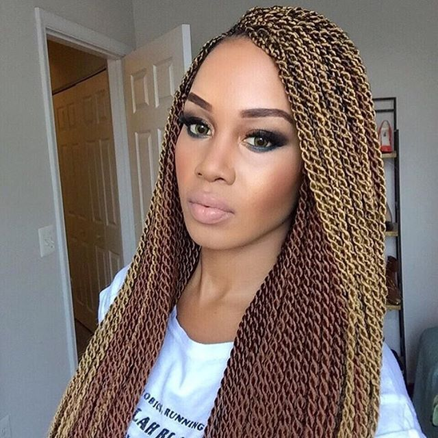 """love these two-tone senegalese twists on @tupo1. #summerhair inspo!"" Photo taken by @curlbox on Instagram, pinned via the InstaPin iOS App! http://www.instapinapp.com (05/31/2016)"