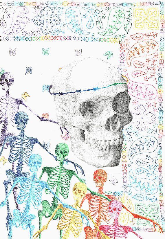 Disegno Teschio skull colorato scheletro