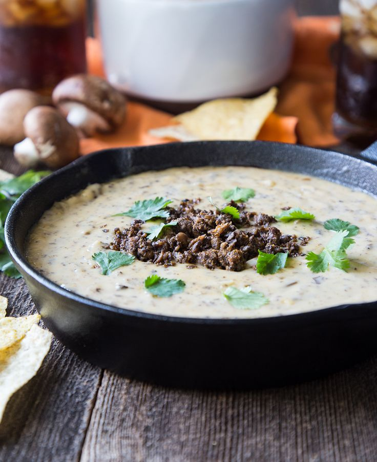 Blended Beef and Crimini Queso is savory, meaty and creamy - a winning combo for any #tailgatefood.
