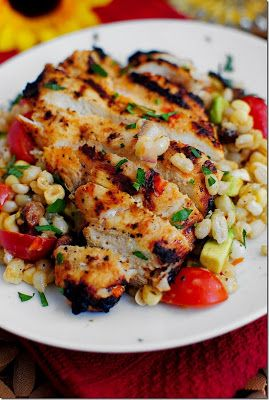 grilled marinated chicken with corn salad