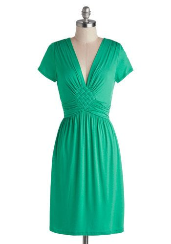 Glam of Green Gables Dress - Green, Solid, Casual, Minimal, Empire, Short Sleeves, V Neck, Mid-length, Good, Braided, Work, Daytime Party