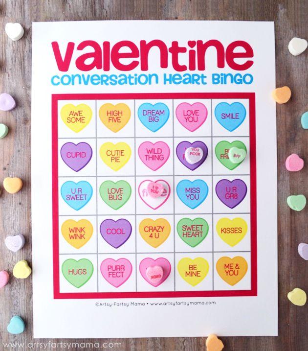 Free Printable Valentine Conversation Heart Bingo at artsyfartsymama.com