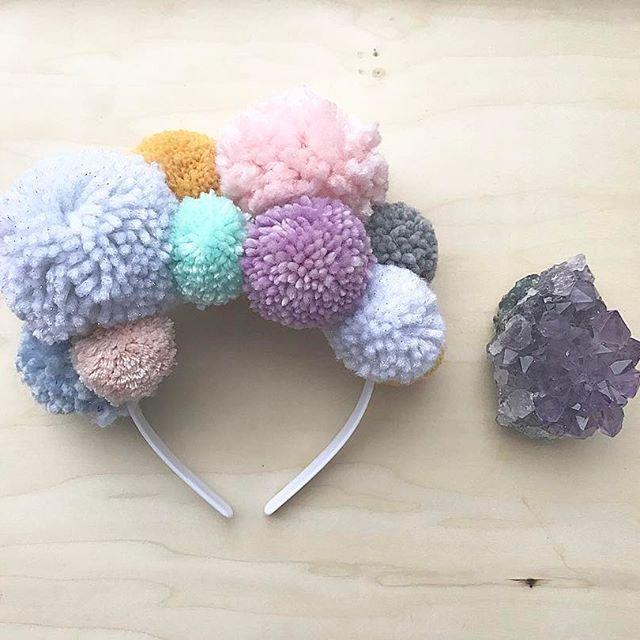 Snow day project... Pom Pom Festival Crown!!! Happy Sunday!!!✨