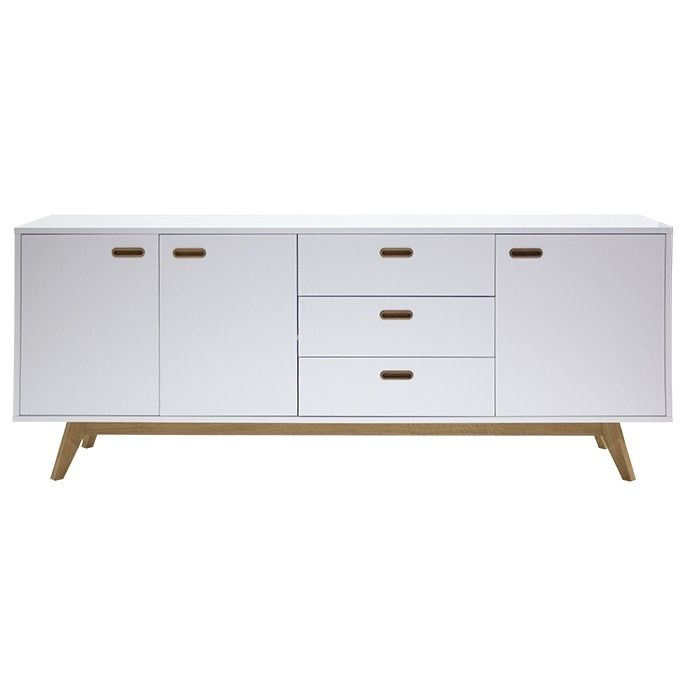BESS retro sideboard with oak legs. Available in black or white.