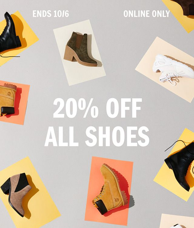 Take 20% off all shoes starting... NOW!