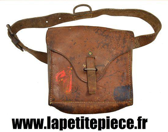 Musette du génie militaire en cuir, Armée Française.