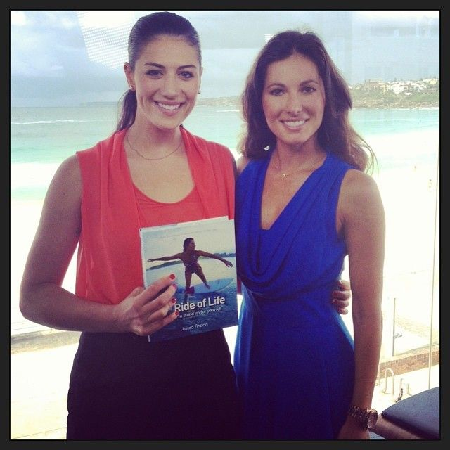 Australian swimmer Stephanie Rice, interviewing Laura Andon (author of The Ride Of Life) for Channel 9 TODAY show. Bondi NSW