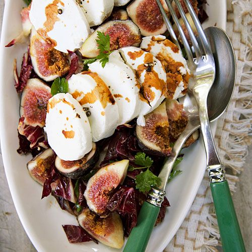 Fresh Goat Cheese and Radicchio Salad with Figs - Late-Summer Dinner Party Menu - Sunset