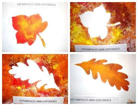 ESTAMPACIÓ AMB ESPONGES- Alumnes de P-5 anys                            L a Tardor és una època de pluges i de descens progressiu de ...