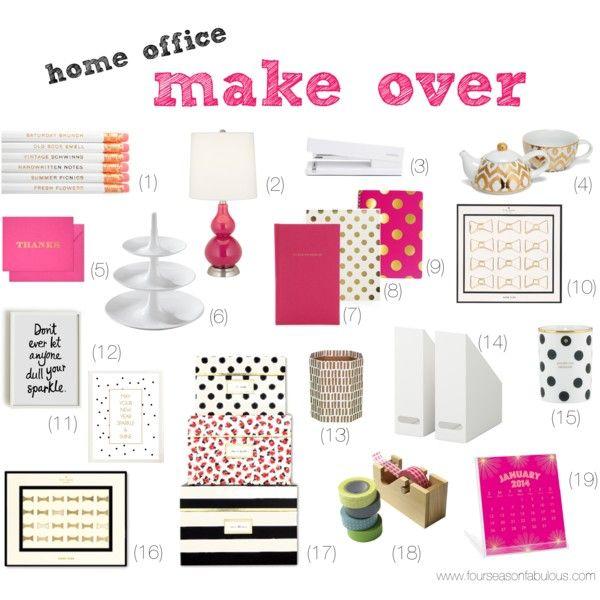 Home Office Make Over: pink & gold, stripes & polka dots, black & white
