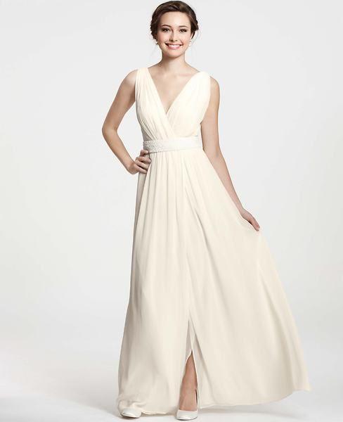 Beach Wedding Glamour- Goddess V-Neck Wedding Dress #anntaylor @watterscreek