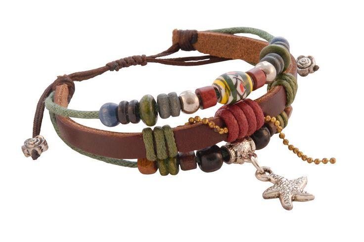 Leren Armband - Tibetaanse leren armband met zeester en gekleurde kralen
