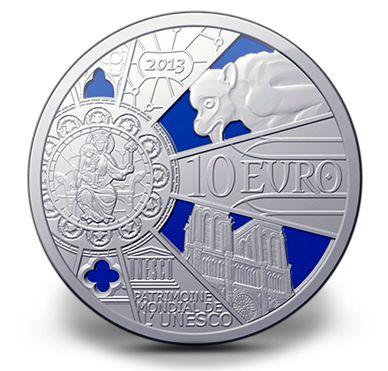 Silver Coin - Notre-Dame de Paris Cathedral - Mintage: 10000 (2013)