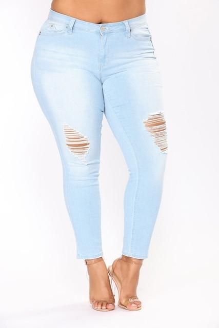 bd9ab56c22 PLUS SIZE Women High Waist Pencil Denim Light Blue Jeans - High Street  Whistles
