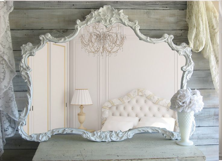 LOVE this mirror. Huge Vintage Shabby Chic Mirror, Cottage Chic, French Country.