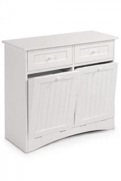 Madison Beadboard Tilt-Out Double Hamper with Drawers - Laundry Storage - Hamper - Clothes Hamper | HomeDecorators.com