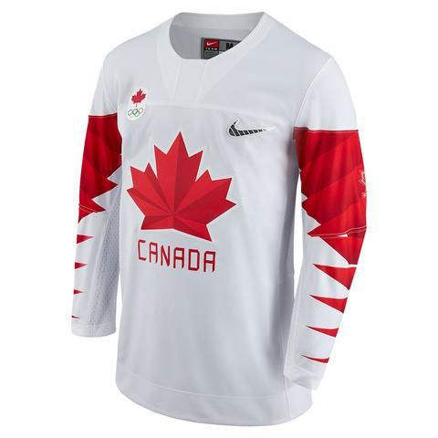 Team Canada Nike 2018 White Olympic Jersey