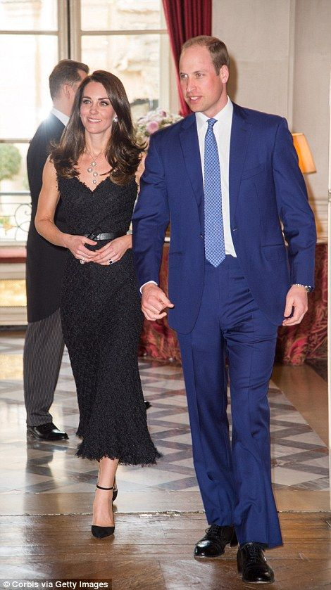 The Duchess ensured all eyes were on her as she stole the show in a sweeping black gown at the gala held at the stunning official residence of the British Ambassador, Edward Llewellyn.